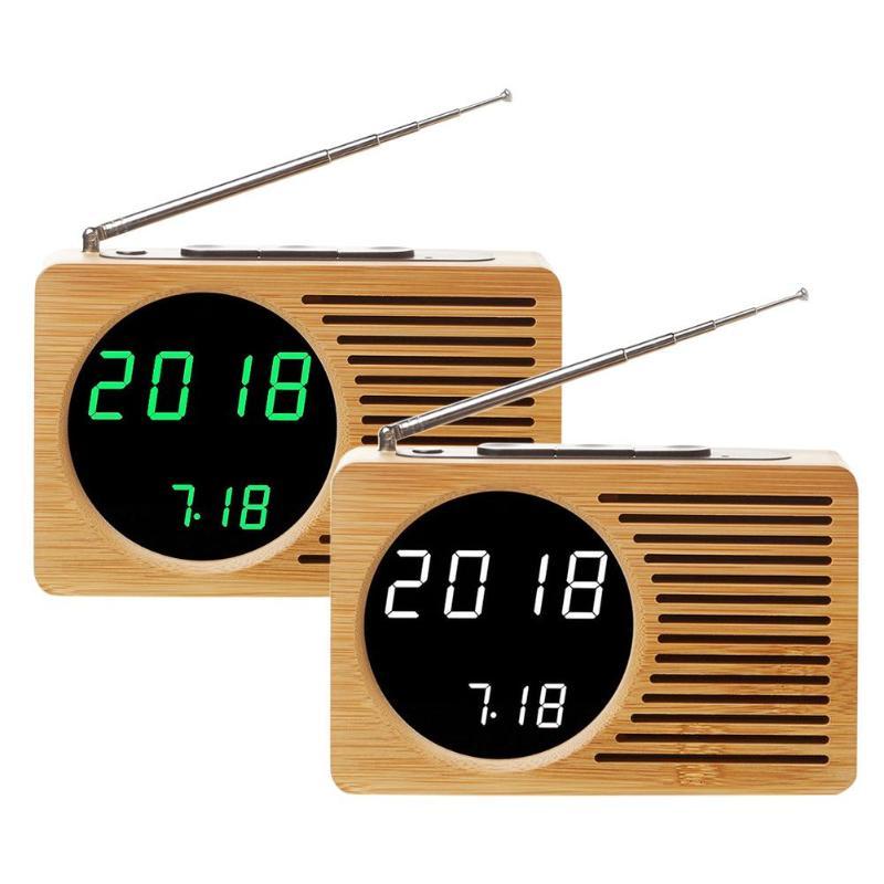 Radio Fm Radio Holzmaserung Bambus Led Wecker Lcd Display Home Desktop Uhr