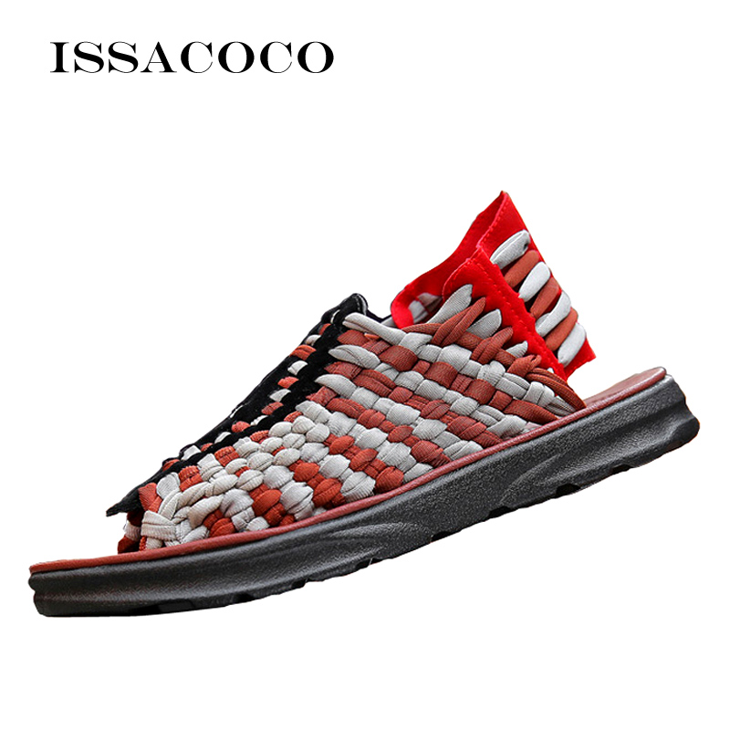ISSACOCO Sandals Women Summer Womens Sandals Flat Artificial Weaving Brand Shoes Women New Sandals For Women Sandal Women Summer