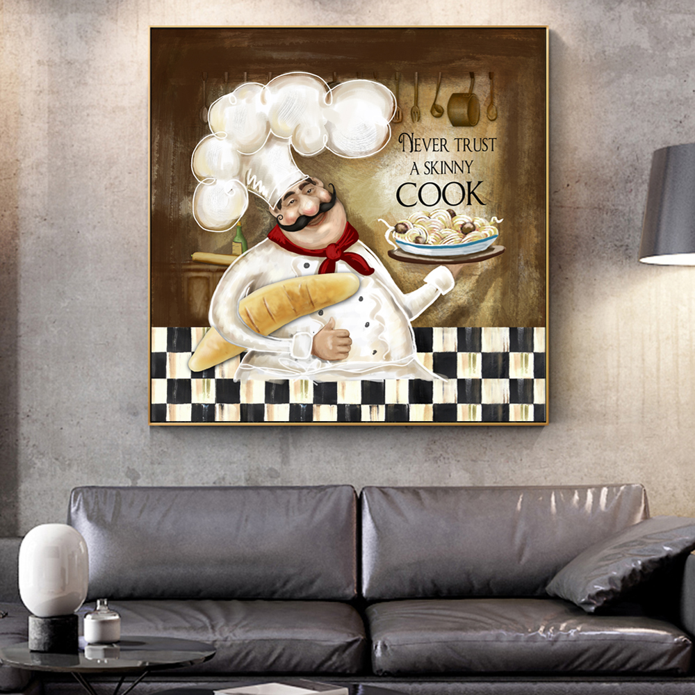 Cartoon Cook Wall Art Canvas Prints Modern Cooking Paintings On The  Posters Cuadros Decorative Pictures For Kitchen Room