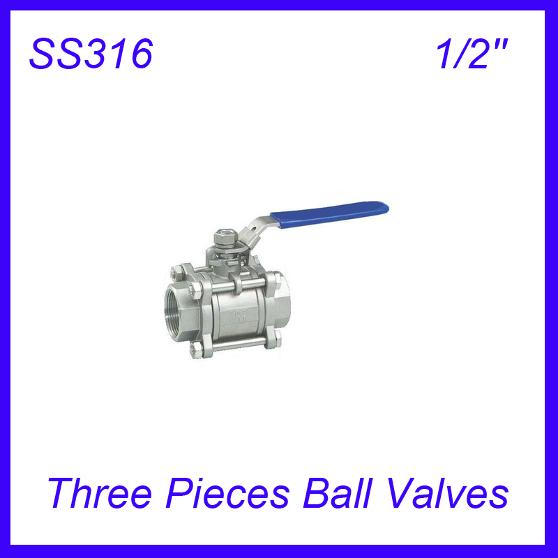 1/2 Ss316 Female Industry Three Pieces Ball Valves Pull Handle 3pc Body Full Port For Water,oil And Gas Valve Home Improvement
