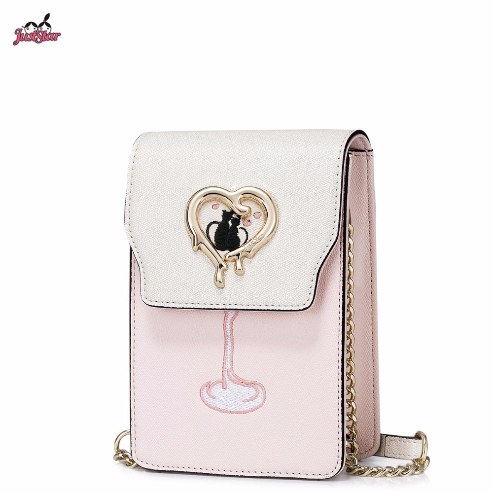 ФОТО 2017 Summer Just Star Brand Design Embroidery PU Women Leather Girls Ladies Chains Shoulder Crossbody Mini Phone Bag