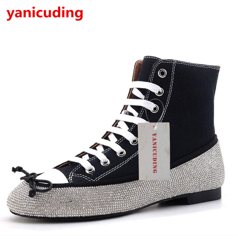 Luxury Brand Women Denim Winter Boots High Top Flats Crystal Embellished Runway Super Star Short Booties Butterfly Knot Decor crystal embellished metal toe women sock boots short booties low heel mid calf boots luxury brand star runway winter warm shoes