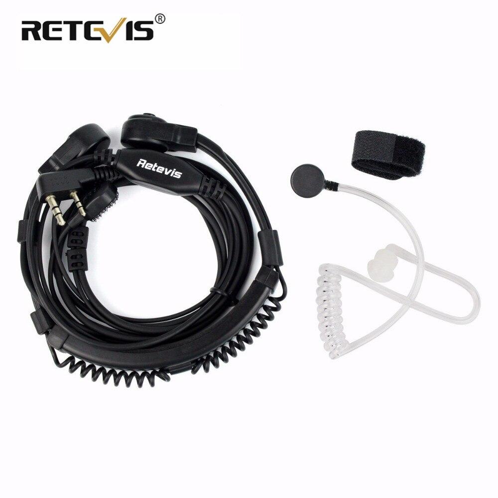 Retevis Extensível Garganta fone de Ouvido Microfone PTT Fone de Ouvido Para Kenwood Para TYT Walkie Talkie Para Baofeng UV-5R RT5R H777 RT7 RT22