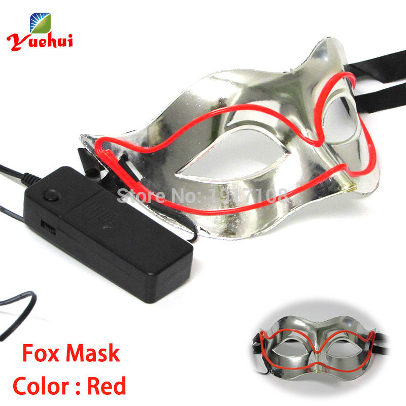 Hot sales 10 COLOR EL wire Mask Halloween Sound activated Fox Mask Festival LED Glowing Party DJ Carnival Dance Masks Supplies