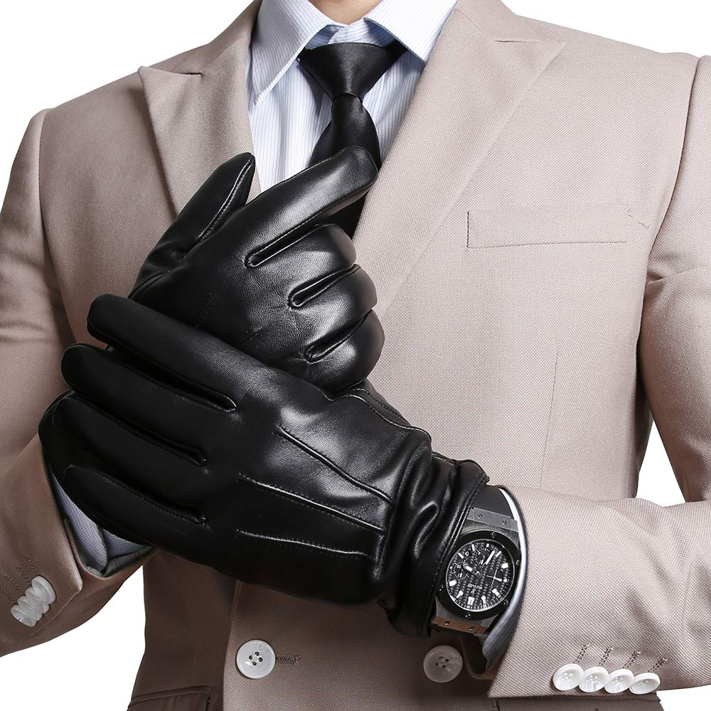 GOURS Genuine Leather Winter Gloves for Men Fashion Black Real Sheepskin Touch Screen Hand Driving Glove 2019 New Mittens GSM058 in Men 39 s Gloves from Apparel Accessories