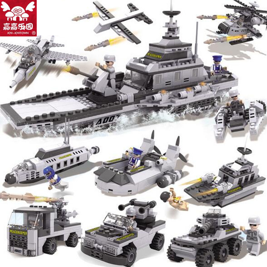 743pcs/set DIY Educational 8 in 1 Armed Building Blocks Model Military Weapon Ship Tank Fighter Assembling Bricks Toys Kids Gift enlighten building blocks navy frigate ship assembling building blocks military series blocks girls