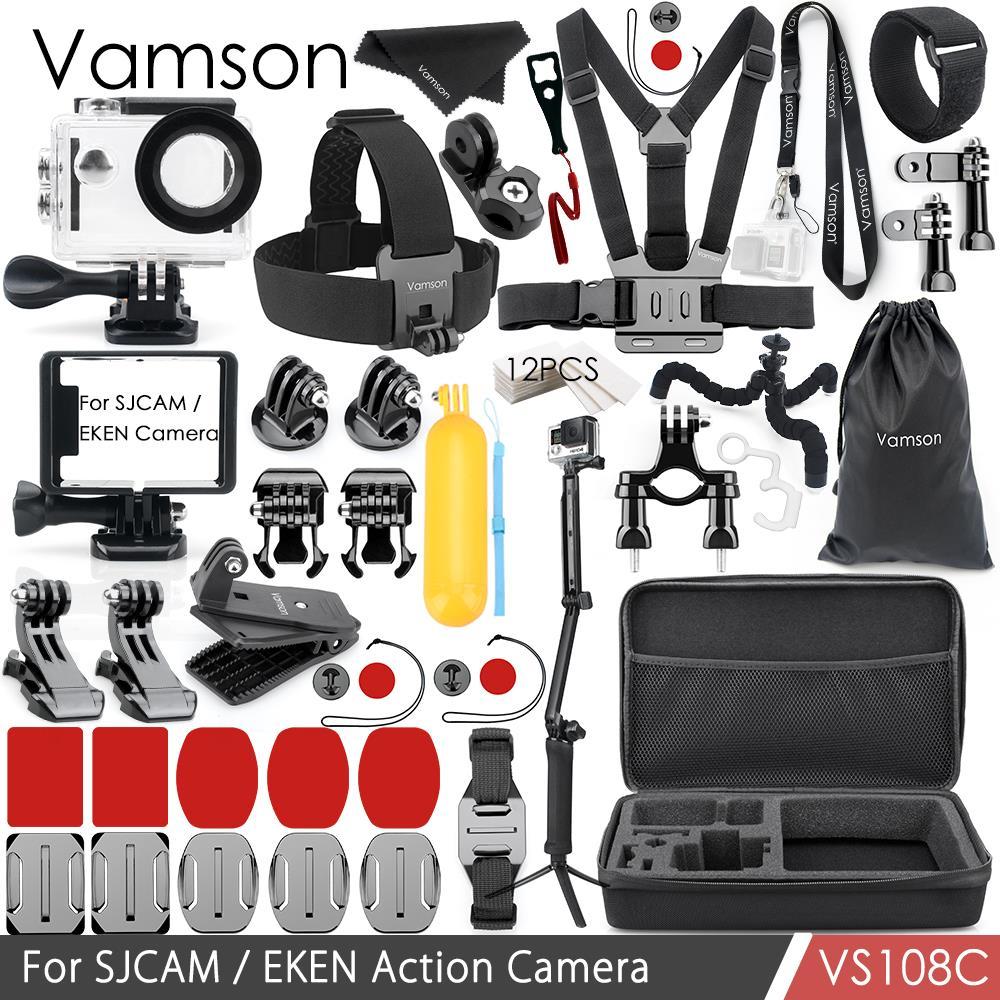 Vamson accessoires pour SJCAM/EKEN Kit montage trépied boîtier étanche/cadre Silicone cou sangle adaptateur caméra VS108A