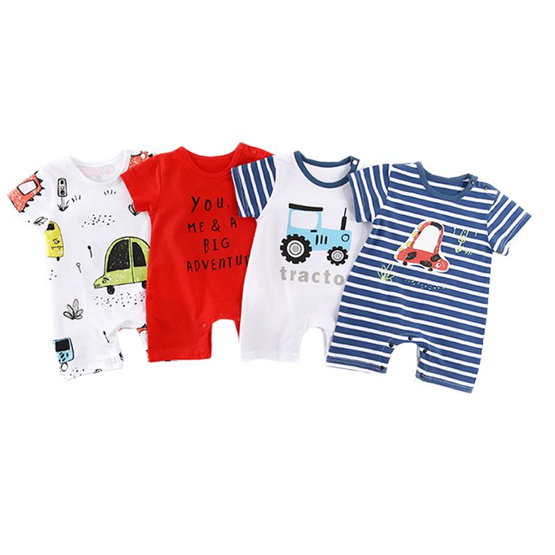 Summer Baby Girls Boys Clothes New Cute Newborn Infant Short Sleeve Car Print   Romper   Jumpsuit Lovely Baby Kid Outfits 0-18M