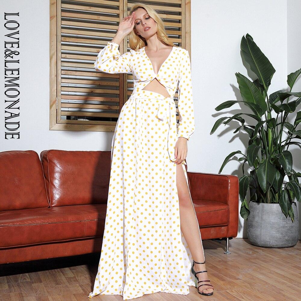 LOVE LEMONADE Sexy Yellow Dots Cut Out Deep V neck Open Beach Long Sleeve Maxi Dress