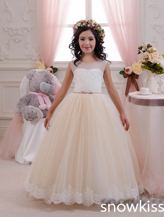 Beautiful white/ivory Lace tulle Flower Girl Dresses first communion ball gowns for juniors with sash vintage baby party frocks elegant lace a line flower girl dresses with sash holy kids first communion prom gowns for wedding birthday baby party frocks