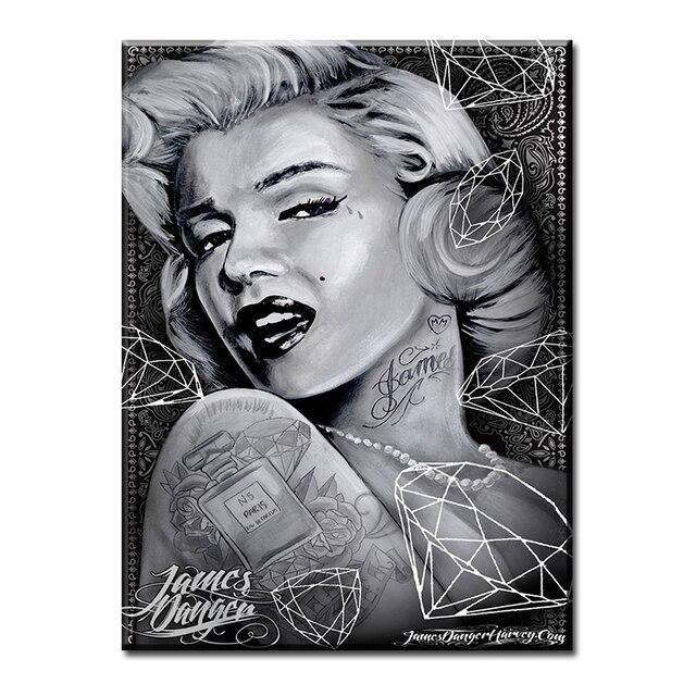 Venta caliente Marilyn Monroe blanco y negro impresión de la pintura ...