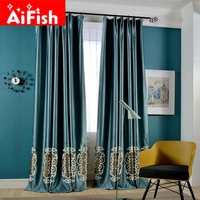 Luxury Blue Pearl Cashmere Insulation Shade Curtain For Living Room Elegant Towel Embroidery European Embroidery