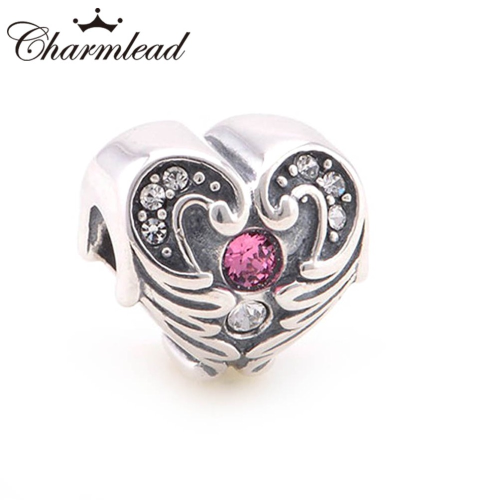 68c38f5eb Charmlead Original 925 Sterling Silver Angel Wing Charm Love Heart Beads  with CZ Stone Fits Pandora Charms Bracelet Lady Jewelry