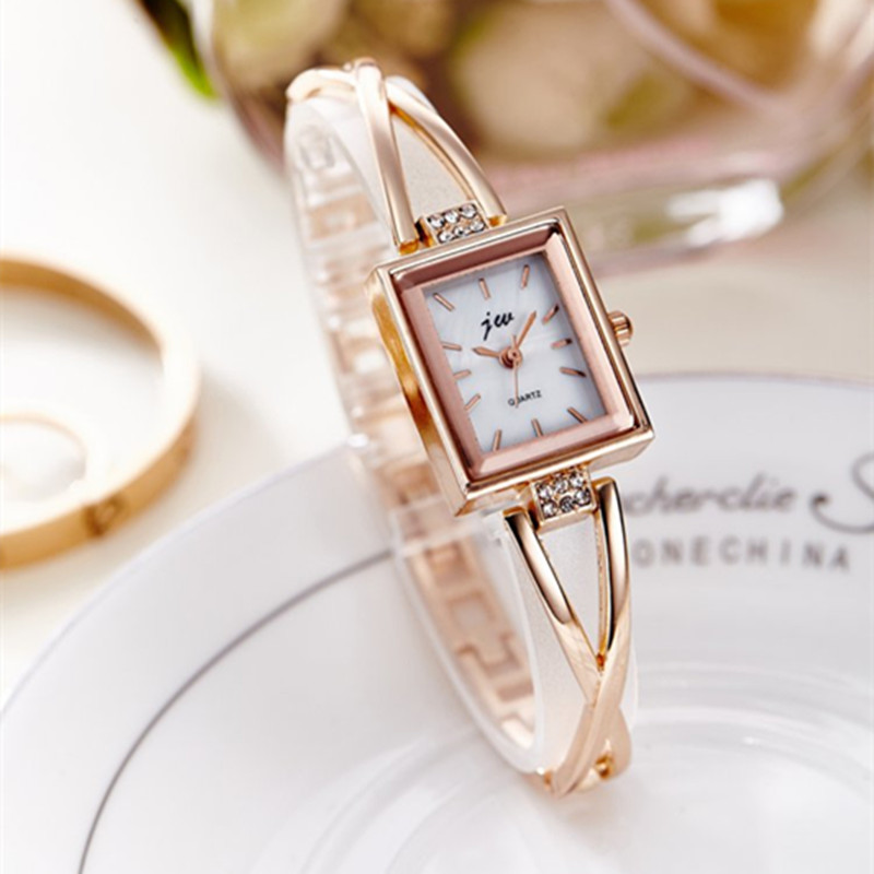 Brand JW 2017 Women Bracelet Watches Luxury Gold Stainless Steel Wristwatches Ladies Fashion Casual Quartz Watch Female Clock duoya fashion luxury women gold watches casual bracelet wristwatch fabric rhinestone strap quartz ladies wrist watch clock