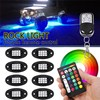 8pcs RGB LED Rock Light 12V Wireless Bluetooth Control Under Body Light Offroad Truck SUV ATV