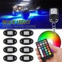 8pcs RGB LED Rock Light 12V Wireless Bluetooth Control Under Body Light Offroad Truck SUV ATV