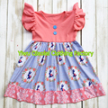 2017 New dress Easter Day Bunny Coral girl baby dress high quality