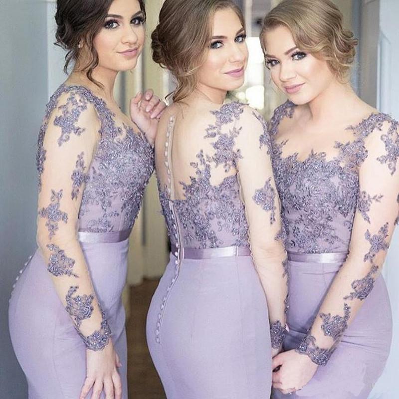 2017 élégante longue en mousseline de soie sirène robe de demoiselle d'honneur manches complètes Applique dos transparent avec bouton robe de soirée de mariage sur mesure