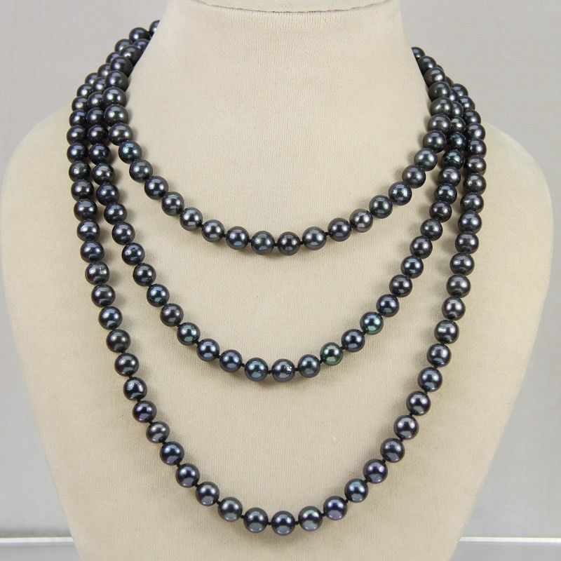 New7-8mm Black real akoya Cultured Pearl Necklace 50