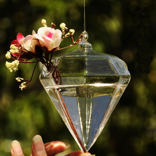 Diamond Shape Hanging Flower Vases Home Decoration Glass Vases