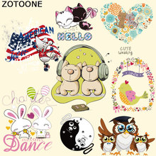 ZOTOONE Clothes Patches T-shirt Press Sticker Cartoon Iron on Transfer for Bag A-level Washable Appliques F