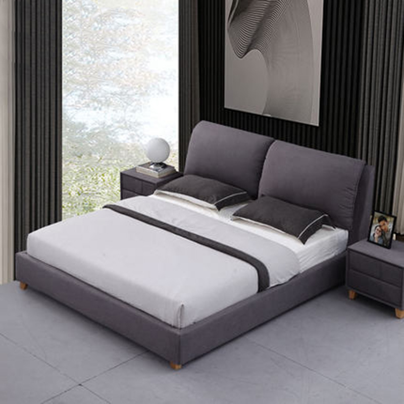 Nordic double leather leather bed first layer of leather bedside simple modern solid wood bed simple odern nordic leather double wedding leather bed furniture