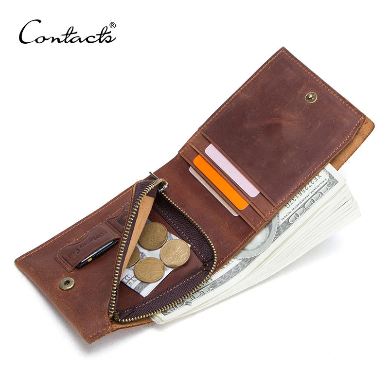 CONTACT'S Vintage Genuine Leather Men Wallet With Zipper Coin Pocket Card Holder Small Thin Men's Purse Male Partmon Man Cuzdan