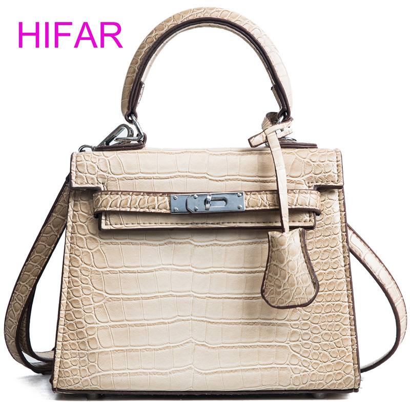2018 New women hand bag crocodile pattern pu leather shoulder bag high quality handbags fashion small Lock Embossed top handle fashionable women casual high quality crocodile embossed genuine leather small mini messenger bag
