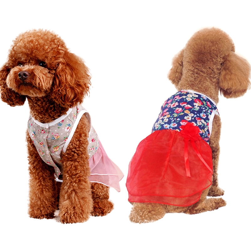 Cute Spring Pet Clothing Floral pattern Summer <font><b>Dog</b></font> <font><b>Dress</b></font> Clothing For Small <font><b>Dog</b></font> Wedding <font><b>Dress</b></font> Skirt Puppy Clothing M/L/XL/<font><b>XXL</b></font> image