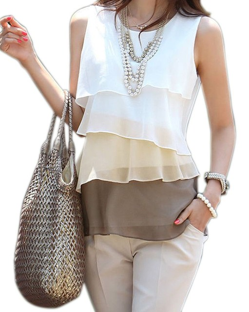 2017 New Fashion Flounce Tiered Chiffon Blouse – Plus Sizes