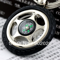 [5 pcs /lot] 2014 New Product Compass Keychain Tyre Key chain Tire Key ring Keyfob Free Shipping 5311