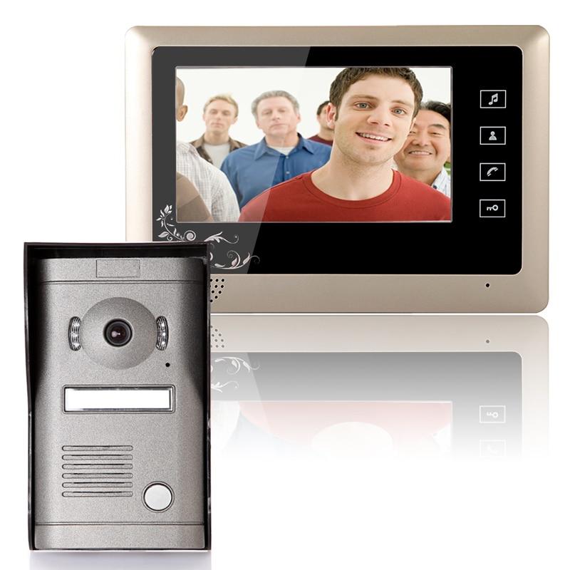 Free Shipping!  MOUNTAINONE 7 Inch Video Door Phone Doorbell Intercom System  Kit 1-Camera 1-Monitor Night Vision