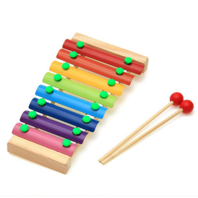 never more baby toy wooden piano baby hand knock Percussion 8 Note small Musical Instruments good gift for kids