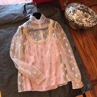 women ladies silk blouse long sleeve pink Lace hollow turtleneck blouse Top Summer Blouses Cap Elegant Blouse for female