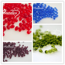 4*6MM 150Pcs Mixed 4 Colors Clear  Water Drop Teardrop Czech Glass Crystal Bead Jewelry Beads