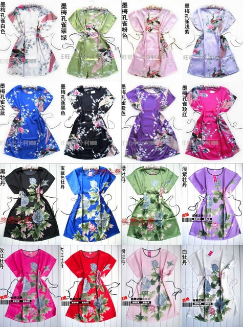 884de877dc New Short Sleeve Floral Sexy Plus Size Women Silk Robe Lady Girl Silk  Pajamas Housecoat Nightgowns Loungewear Sleepwear peacock