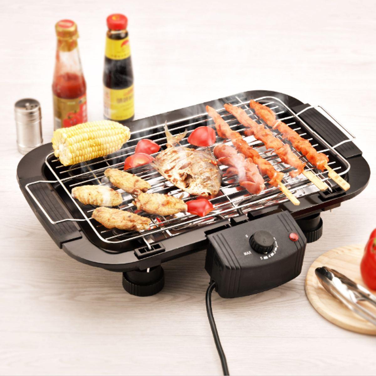 Height Adjustable Smokeless Nonstick Electric BBQ Grill Teppanyaki ...