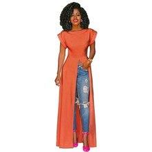 купить 2019 Summer Women High Split Dress O-Neck Solid Maxi Dress Sexy Short Sleeve Party Dress дешево