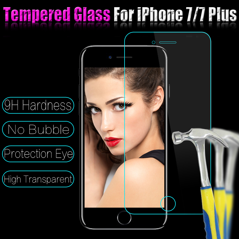 Ultra Thin For iPhone 7G 4 7 Plus 5 5 100pcs lot Tempered Glass Film Screen