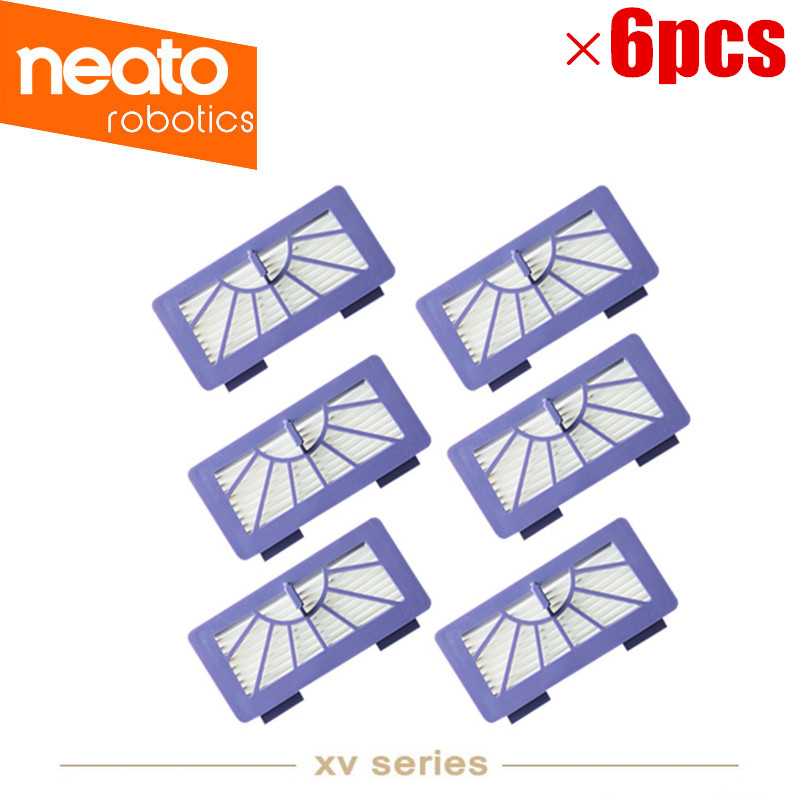 6PCS/lot HEPA Filter Replacement for Neato Cleaner XV-11, XV-21, XV-15, XV-12 XV-14 High Quality neato spiral blade brush 6 piece brush blade and 1piece squeegee replacement pack xv 11 xv 12 xv 14 xv 15 xv 21