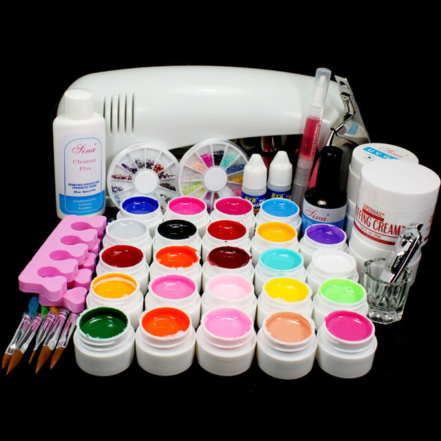 PRO FULL 9W White UV Lamp 24 Color Pure UV GEL Nail Art KIT Gel Set  Manicure Set To Build Gel Nails Gel Polish 34233