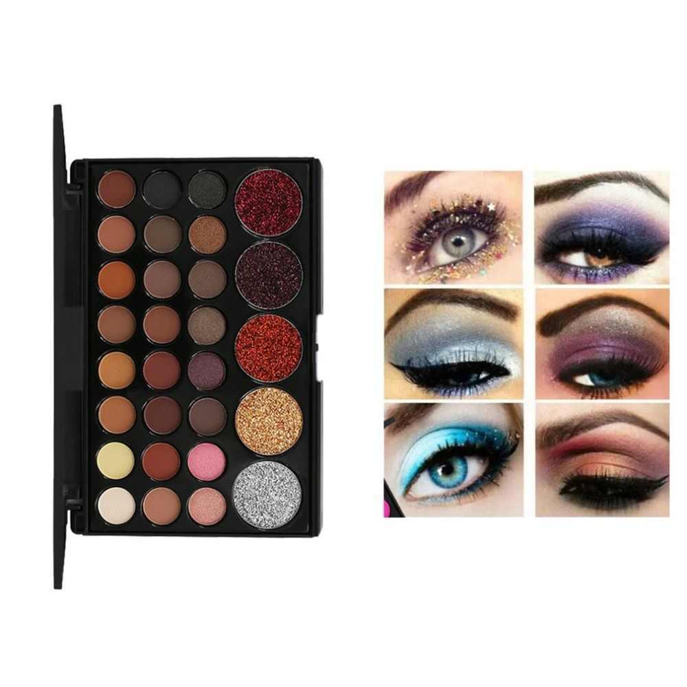 29 kolorów/zestaw kobiety makijaż oczu paleta cieni do powiek mieszane kolor Bling Glitter projekt cień do powiek + 7 sztuk miękka szczotki do włosów
