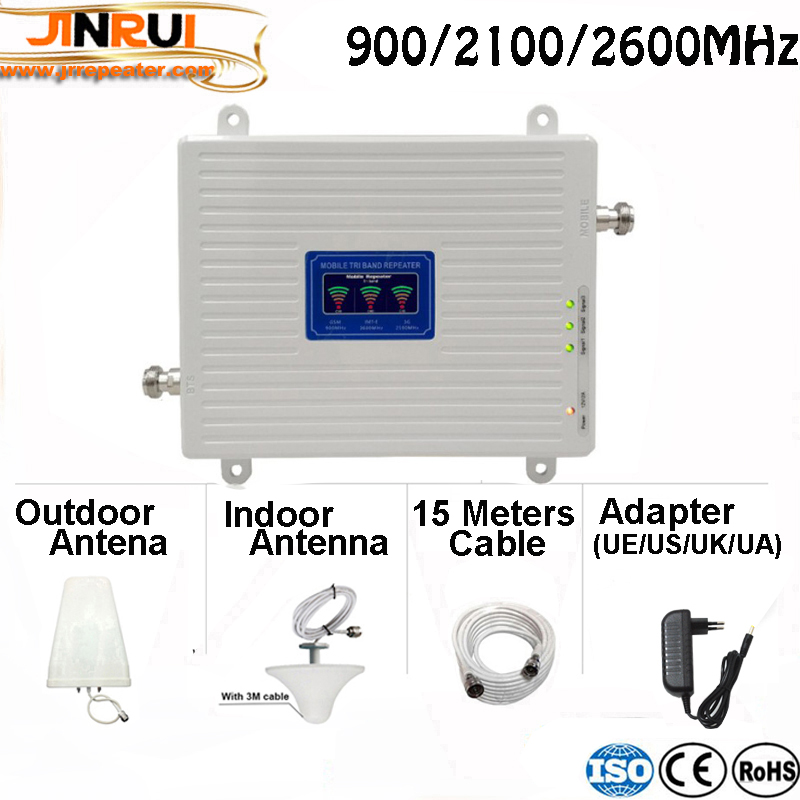 Tri Band Booster repeater 2G 3G 4G GSM 900 3G UMTSWCDMA 2100 4G FDD LTE 2600