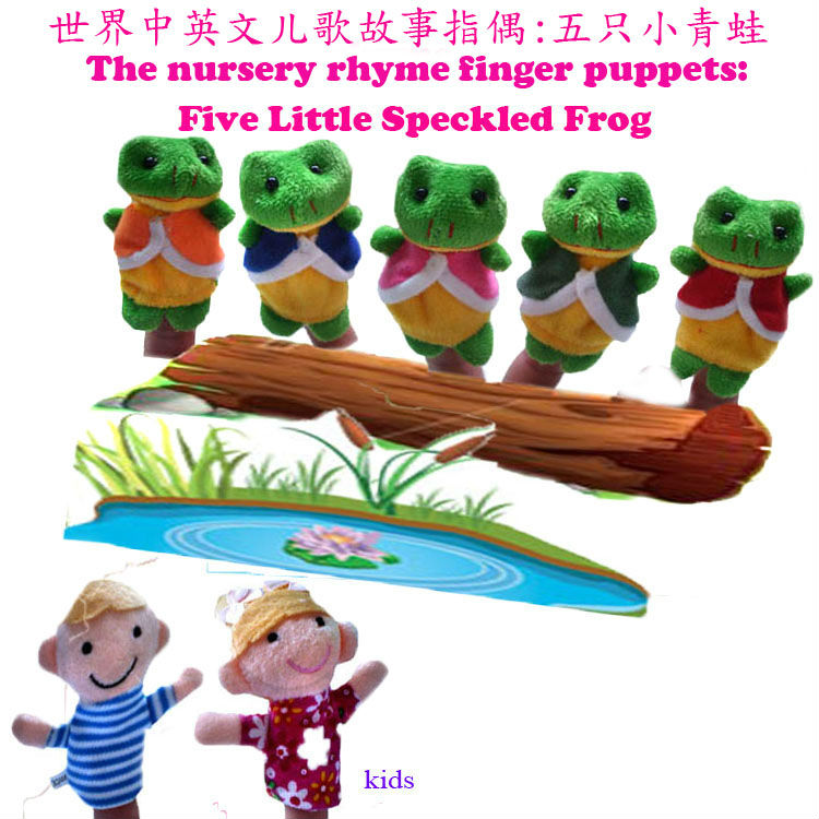 Jnj My Store >> Aliexpress.com : Buy 35pcs/lot, Five little speckled frogs and Two kids Animal Finger Puppet ...