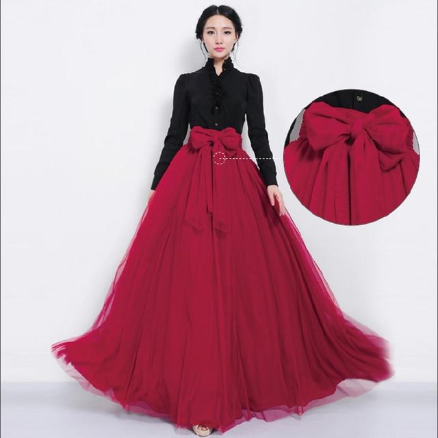 3416901f169 Women Elastic Skirt High Waist Tulle Mesh Skirts Pleated Multi-Layer  Bowknot Maxi Full Skirt 108