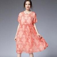 Chiffon Dress Summer Pink Plus Size Woman 2019 Lady Flower Embroidery casual fashion beach elegant party boho extra large dress