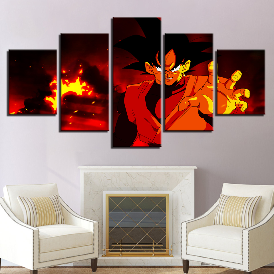 Canvas Wall Art Pictures Home Decor Living Room 5 Pieces Dragonball Vegeta Anime Characters Scene Painting HD Print Poster Frame in Painting Calligraphy from Home Garden