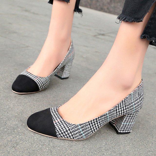 4218ea5694d2 Spring Autumn High Heels Shoes Black Toe Plaid Pumps Woman Shoes Square  Heeled Boat Shoes Office Ladies Shoes Zapatos Mujer 6300