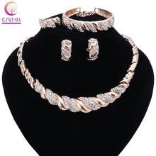 Модные женские наборы ювелирных украшений золотого цвета с кристаллами