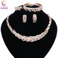 Fashion Women Dubai gold color Crystal Jewelry Sets Big Nigerian Wedding African Jewelry Sets African Beads Jewelry Sets